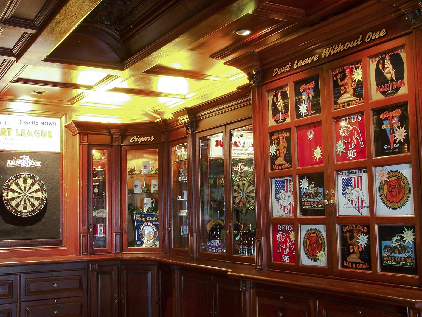 The Churchill Room - The Churchill Room is constructed with 100% Honduras Mahogany. All of the hats, T-shirts, pints glasses and such are available for sale. We also sell a nice selection of cigars.