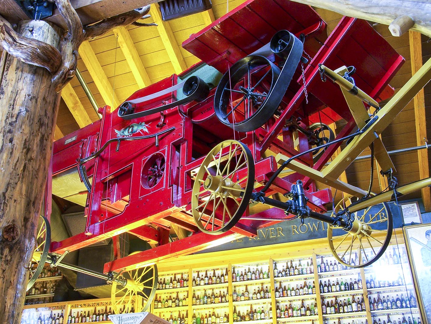 The Harvester - The 'Sterling Harvester' hanging from the ceiling was found on the side of the road in Portland, Maine.